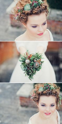 Succulents as hairpieces, beautiful! Crassulas and echevarias.