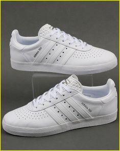 9675cc3038 Adidas Originals - Adidas 350 Trainers In Triple White Leather