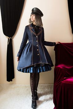 Little Dipper*Untold Poem Military Style Coat/OP in Dark Navy