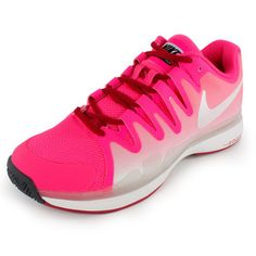 For the best in lightweight response with incredible feel, try the Nike Women's Zoom Vapor 9.5 Tour Tennis Shoes. Designed   specifically to fit a woman's foot, these high-performance shoes are   perfect for players looking to enhance the speed and quick cuts in their   game.Upper: Adaptive fit with lightweight specifications create a no-fuss upper that's as lightweight as it is durable.Midsole: Nike Zoom unit for responsive cushioning that won't weigh you down. Outsole: XDR Rubber for the…