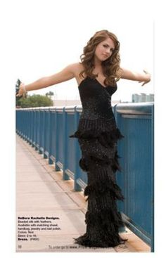 prom dress with feathers