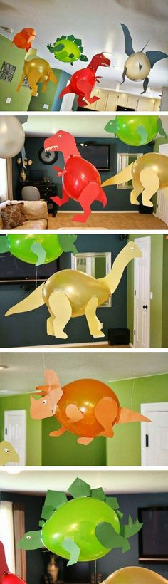 Geburtstagsparty DIY Deko - Kindergeburtstag Ideen Bastelideen Kinderparty Deko Dinoluftballons Luftballons Dinos by betsy Kids Crafts, Creative Crafts, Diy And Crafts, Creative Kids, Simple Crafts, Dinosaur Birthday Party, Boy Birthday, Birthday Parties, Birthday Ideas