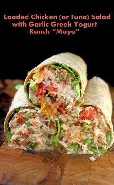 "Loaded Chicken Salad Sandwich with Garlic Greek Yogurt Ranch ""Mayo"" Lunch Snacks, Lunch Recipes, Dinner Recipes, Cooking Recipes, Healthy Recipes, Lunches, Cooking Rice, Fish Salad, Tuna Salad"