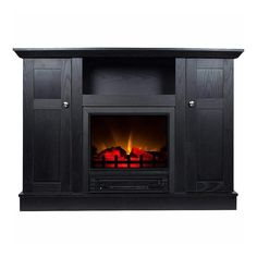 Media Fireplace, Fireplace Console, Black Electric Fireplace, Electric Fireplace Tv Stand, Folding Pool Table, Media Cabinet, Storage Cabinets, Open Shelving, Design