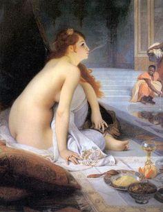 Jean-Jules-Antoine Lecomte du Nouy -  (1842-1923 Paris) - peintre orientaliste français -  L'esclave blanche - Huile sur toile