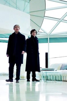 John & Sherlock Cuz of the perspective John looks taller than Sherlock! Funny ;)