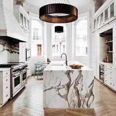 Marble Kitchen & Chevron Floors