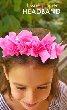 Super simple DIY for Tissue paper headband Tissue Paper Crafts, Paper Crafts For Kids, Crafts For Girls, Diy For Girls, Quick Crafts, Crafts To Make, Fun Crafts, Sewing Headbands, Kids Headbands
