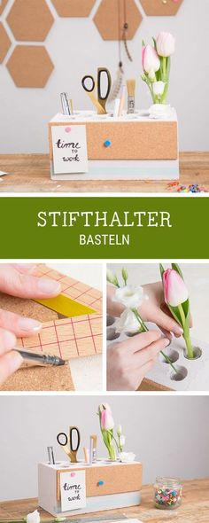 Anleitung für einen praktischen Stiftehalter, so kommt Ordnung auf Deinen Schreibtisch / diy tutorial and storage idea for your workspace: pencil holder with integrated cork pinboard via DaWanda.com