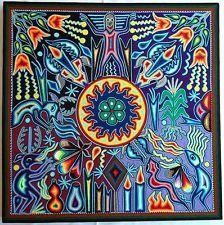 "23.5"" Mexican Huichol Sun, Deer, Peyote, Shaman and Tree of Wind yarn painting."