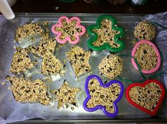 4 cups bird seed, 3/4cup flour, 3 tBs corn syrup  1/2cup water. mixed together and press into cookie cutters. remember to poke a hole with a straw for hanging.