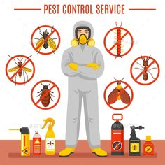 Buy Pest Control Service Illustration by macrovector on GraphicRiver. Pest control service vector illustration with exterminator of insects in chemical protective suit termites and disinf. Best Pest Control, Pest Control Services, Bug Control, Illustration Vector, Illustrations, Cockroach Control, Get Rid Of Spiders, Termite Control, Illustration