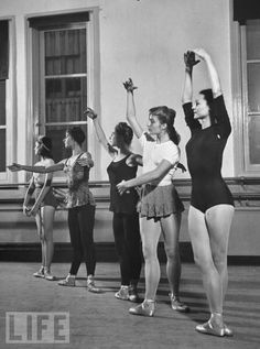 The five basic ballet positions. From left to right, first to fifth position.