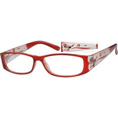 A full-rim plastic frame, this medium wide pair of glasses has a dark red frame front, scalloped at the corner, with a frosted translucent backing for the deep red flowers, with crystals, decorating the temple arm. To virtually try on the frame, we encourage you to upload your picture on your computer, into the Zenni Frame Fit feature for your personal sizing.