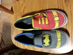 Hand Painted ShoesBatman Etc. by HappiestWhenCrafting on Etsy, $50.00