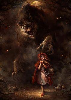 """Little Red Riding Hood"" Nightmare-turned children's story art by Blaz Porenta"