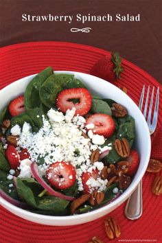 Strawberry Spinach Salad | The dressing on this spinach salad is amazing!