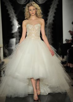 """High low hemline gowns are pretty, but are they acceptable for wedding day attire? Read our post on the wedding """"mullet"""" here. Hi Low Wedding Dress, Reem Acra Wedding Dress, Reem Acra Bridal, Dream Wedding Dresses, Bridal Gowns, Wedding Gowns, Marchesa, Wedding Wishes, Wedding Trends"""