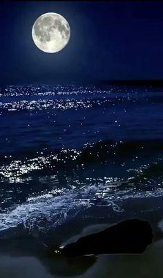 Beautiful Photos Of Nature, Beautiful Nature Wallpaper, Beautiful Moon, Ocean At Night, Night Sea, Night Sky Moon, Aesthetic Photography Nature, Moon Photography, Mar Gif