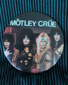 Vintage Motley Crue Oversized Button 80s Rock Band by Trentage