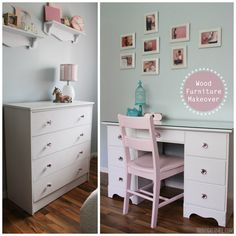 Boring Old Wood Furniture Makeover - Transformed into Gorgeous Furniture! Desk and Dresser Transformation