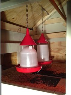 Add a funnel to the top of the chicken feeders so they don't perch on top,.......D.