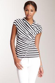 Cap Sleeve Stripe Top on HauteLook