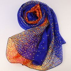 10% Off All Scarf Order > USD100 - Crystal Blue Silk Scarf with Orange Dot Print - Polka Dot Printed Blue and Orange Silk Scarf - AS53