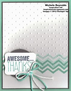 """Handmade thank you card by Michele Reynolds, Inspiration Ink, using Stampin' Up! products - Yippee-Skippee! Set, Work of Art Set, Perfect Polka Dots Embossing Folder, 1-3/4"""" Circle Punch, Chalk Talk Framelits, Tag a Bag Accessory Kit, and Thick Baker's Twine."""