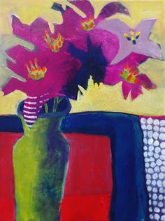 """Where ART Lives Gallery Artists Group Blog: Contemporary Expressionist Still Life Art Painting """"Purple Lilies"""" by Santa Fe Artist Annie O'Brien Gonzales"""