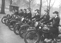 WRNS Despatch Riders on their Triumph motorcycles 1940s   WRNS despatch riders on Triumph motorcycles during the Second World War. Note the protective headgear!  Normally they did have crash helmets but perhaps they didn't look good for the photograph.