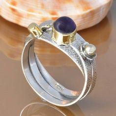 AMETHYST 925 SOLID STERLING SILVER EXCLUSIVE RING 4.29g DJR7423 #Handmade #Ring