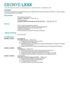 Resume For Child Care Background Success Pinterest Child