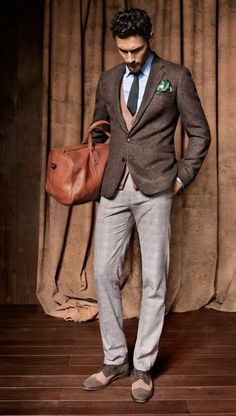 Fall three piece. Brown tweed jacket, knit tie, cardigan vest, windowpane trousers, suede saddles, leather weekender.
