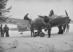 Refueling of Bristol Blenheim Mk IV from the squadron LLv winter airfield. This aircraft crashed on take off during training flight in October, Aircraft Photos, Ww2 Aircraft, Military Aircraft, Finnish Air Force, Bristol Blenheim, Luftwaffe, Military History, World War Two, Wwii