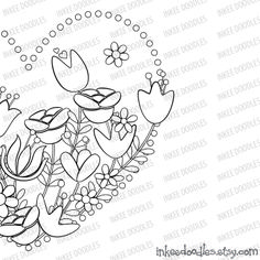 Bird and flowers in a heart layout, by Inkee Doodles, $3.00, #birds #flowers #heart #springflowers #mothersday #valentinesday #DIYcard #craftwork #animals #floral #etsy #pretty #colorin #Foliage mom #mum