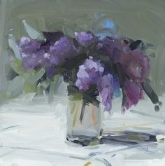 Lilac Bouquet by Amy Brnger Art Floral, Abstract Flowers, Watercolor Flowers, Sunflowers And Roses, Lilac Bouquet, Fruit Painting, Painting Still Life, Daffodils, Lilacs