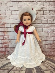 American Girl Regency Style Dress with Hat Inspired by Jane   Etsy Pride And Prejudice Elizabeth, Regency Gown, 18 Inch Doll, Jane Austen, Custom Clothes, Girl Dolls, Pink Girl, American Girl, Lace Trim
