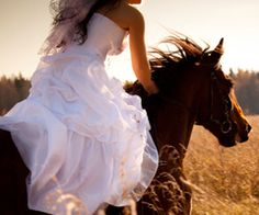 "Ooooh here's an idea. When I get a horse and if I get married, I want to ride my horse tackless in a field at sunset!!< love how it says ""when"" I get a horse like it IS going to happen and ""if"" I get married! Lol"