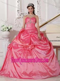 fedb7601943 Buy ball gown sweetheart taffeta quince dresses with pick ups in hot pink  from watermelon quinceanera dresses collection