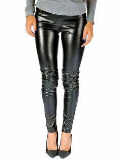 MICHAEL Michael Kors | Faux-Leather Leggings in black www.sabrinascloset.com Faux Leather Leggings, Leather Pants, Michael Kors, Off Duty, Free Clothes, Perfect Fit, Dressing, Collection, How To Wear