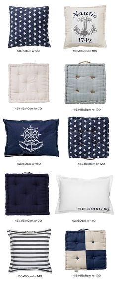 Maritime style cushions. Great for doing your kitchen over like your yacht or your yacht over to make it more like home!