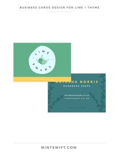 & Website Design for Lime + Thyme - MintSwift Business Cards Design for Lime + Thyme Collateral Design, Brand Identity Design, Branding Design, Logo Design, Business Branding, Business Card Design, Business Cards, Writing Thank You Cards, Web Design Packages