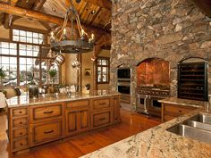 Rustic kitchen in this Jackson, WY log home.