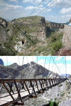 """Puente de Ojuela (Mexico) Ojuela was a small mining settlement located northwest of the city of Durango, Durango, in northern Mexico. The settlement is now well known as a ghost town as a result of the mineral ore being exhausted. The only surviving and functional structure is a suspension bridge. The bridge is known as """"Puente de Ojuela"""" (Ojuela Bridge) by the locals."""