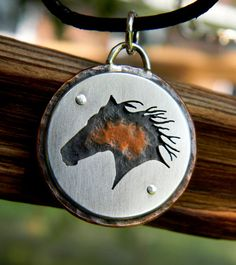 Wild horse pendant Sterling silver copper hand by justplainsimple, $50.00