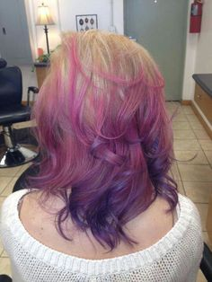 Blonde-pink-purple ombre!