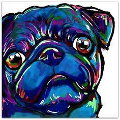 Black Pug Face art print by CartoonYourMemories on Etsy