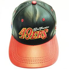 San Francisco 49ERS , LOGO TEAM NFL BASEBALL LEATHER CAP Black/Red Available at the LEATHER collection www.theLEATHERcollection.net