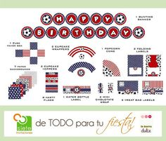 Soccer PRINTABLE American USA flag 4 of july por labarradulce, $20.00 Soccer PRINTABLE American USA flag 4 of july Fourth Independence Estados Unidos Cuatro de Julio PARTY package kit futebol futbol + use and share our coupon code for a -10% CCode: 10OFF